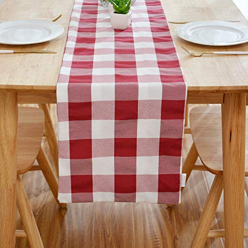 NATUS WEAVER Red & White Buffalo Check Table Runner Cloth 2 Side for Family Dinners or Gatherings, Indoor or Outdoor Parties, Everyday Use (12 x 72, Seats 4-6 -