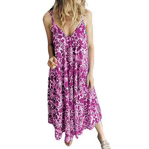 LIM&Shop  Summer Long Dress Sleeveless Boho Beach Cover Up Maxi Dress Plus Size Cami Spaghetti Strap Top Print Shirt Hot Pink]()