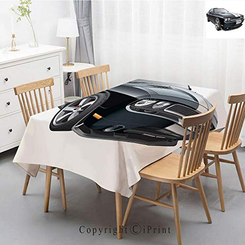 Washable Square Cotton Linen Print Tablecloth,Vintage Dinner Picnic Table Cloth Home Decoration Assorted Size,47x63 Inch,Cars,Black Modern Pony Car with White Racing Stripes Coupe Motorized Sport ()