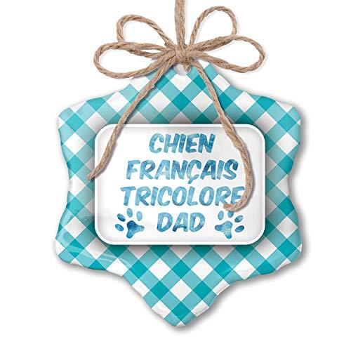 (NEONBLOND Christmas Ornament Dog & Cat Dad Chien Franï¾ais Tricolore Blue Teal Turquoise Plaid)
