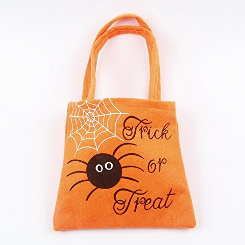 SUMMEE Halloween Candy Bags Trick or Treat Candy Handbags For Kids Christmas Tote Bags Goody Christmas Gifts Bag For Trick or Treat Natural Cotton Material Bag Tricks Candy Sack Orange Pumpkin -