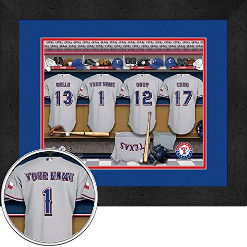 Texas Rangers Team Locker Room Personalized Jersey Officially Licensed MLB Sports Photo 11 x 14 Print