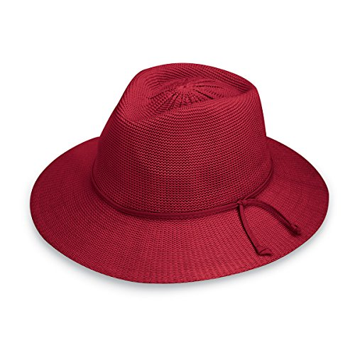 Wallaroo Hat Company Women's Victoria Fedora Sun Hat - 100% Poly-Straw - UPF50+ Cranberry (Natural Factors Cranberry)