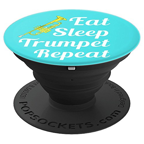 Trumpet Player Gift - Eat Sleep Trumpet Repeat - Aqua - PopSockets Grip and Stand for Phones and Tablets