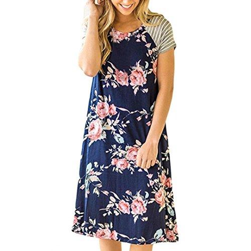 iTLOTL Women Floral Print Short Sleeve A-line Loose Dress(XL,Blue)