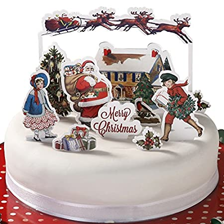 pop top traditional victorian christmas cake decoration decorating toppers - Christmas Cake Decorations Amazon