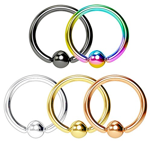 (Forbidden Body Jewelry Super Value 5-Pack: 20g 6mm Surgical Steel Multi Color CBR Hoops with 3mm Balls)