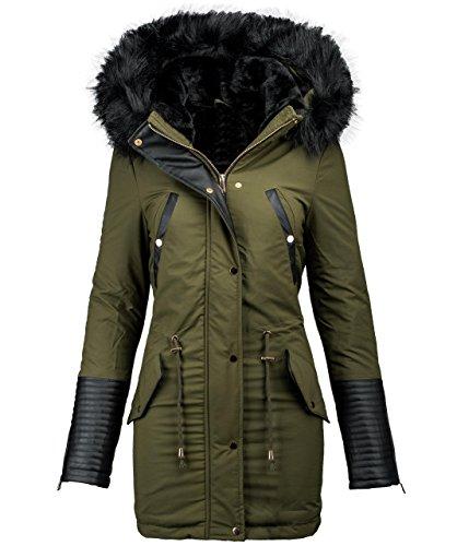 en chaud Olive long veste Veste manteau d'hiver B276 Parka d'hiver d'hiver cuir synthtique 8HZpERnq