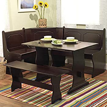Amazon.com & Nook Table Breakfast Bench Corner Dining Set 3 Piece Kitchen Traditional Style Seats 6 Espresso