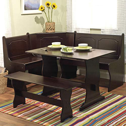 Nook Table Breakfast Bench Corner Dining Set 3 Piece Kitchen Traditional Style, Seats 6, Espresso