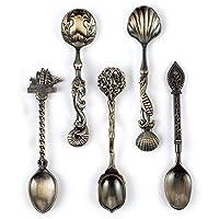 Cyrra 5 Pack Creative Tableware Dessert Jam Spoon Ice Cream Spoons Stirring Spoon Coffee spoon (Ancient Bronze)
