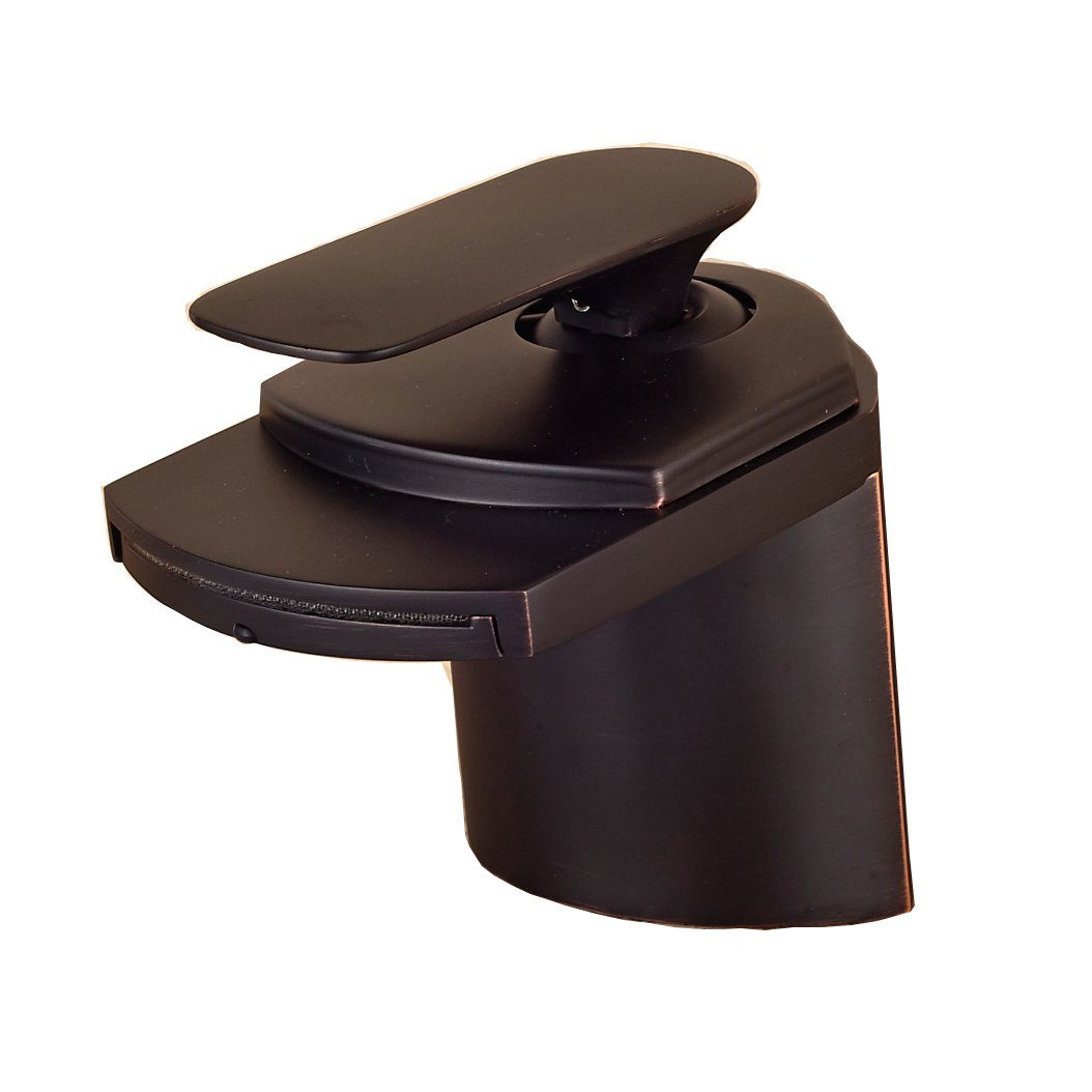 Oulantron Oil Rubbed Bronze Waterfall Bathroom Sink Faucet Single Handle Deck Mount Basin Mixer Tap free shipping