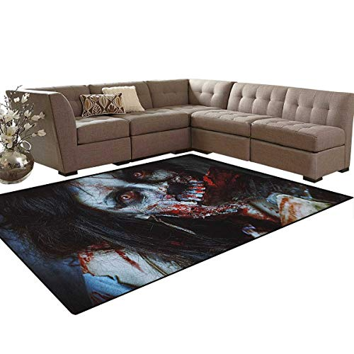 Zombie,Rug,Scary Dead Woman with a Bloody Axe Evil Fantasy Gothic Mystery Halloween Picture,Dining Room Home Bedroom Carpet Floor Mat,Multicolor Size:6'6