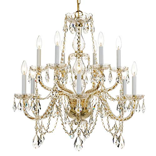 Crystorama 1135-PB-CL-MWP Crystal 12 Light Chandelier from Traditional Crystal collection in Brass-Polished/Castfinish,