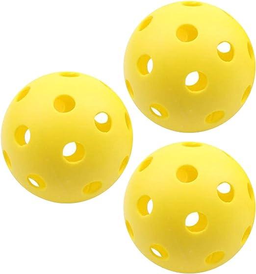 3 Pelotas de Pickleball Amarillas, para Interiores y Exteriores, 7 ...