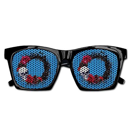 Cherry Park Halloween Black Wreath Skulls Red Roses Retro Party Sunglasses & (Halloween Costume Asda)