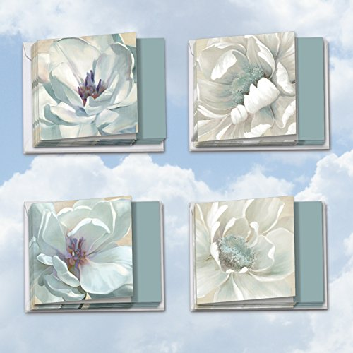 MQ4611GWG-B3x4 Peaceful Petals: 12 Assorted 'Square-Top' Get Well Note Cards Featuring a Canvas-like Painted Image of Crisp White Floral Blooms with (Stamen Assortment)