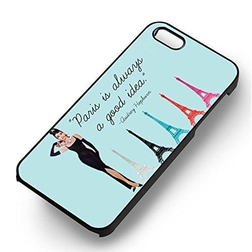 Audrey Hepburn Paris pour Coque Iphone 6 et Coque Iphone 6s Case (Noir Boîtier en plastique dur) Z9A3TT