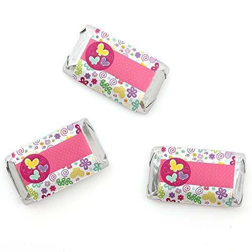 Mini Personalized Candy Bars (Playful Butterfly and Flowers - Mini Candy Bar Wrappers Baby Shower or Birthday Party Favors - 20 Count)