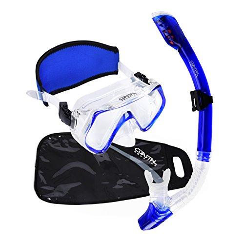 Coastal Aquatics Adult Dry Snorkel and Mask set - Waterproof Gear Bag - Neoprene Mask Strap Cover - Tempered Glass - Anti-Fog Lens - Snorkeling Gear - Free Diving - - Guide Wetsuit Fit