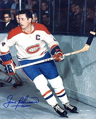 Jean Beliveau (Hockey HOF) Autographed/ Original Signed 8x10 Color Photo Showing Him with the Montreal Canadiens - As a Player Beliveau Won the Stanley Cup TEN Times!