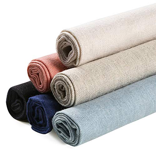 Caydo 6 Pieces 6 Colors Linen Needlework Fabric for Garments Crafts, Upholstery Flower Pot Decoration and Tablecloth, 19.6 by 19.6 Inch