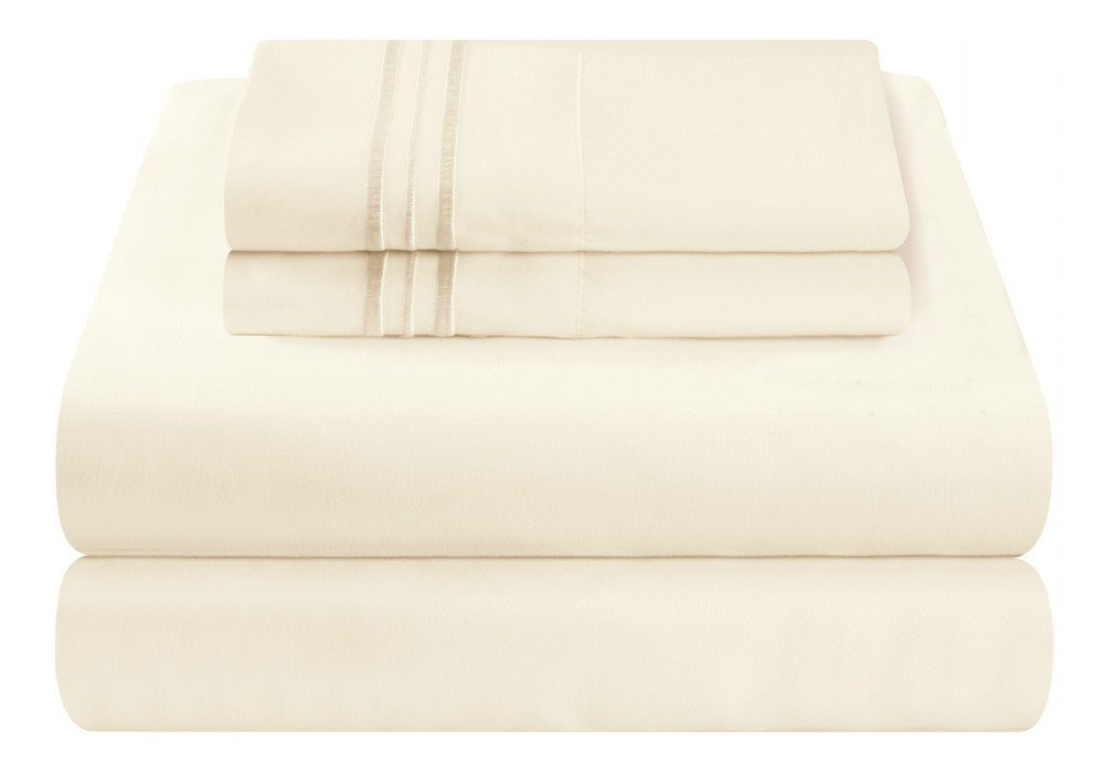 Mezzati Luxury Bed Sheet Set - Soft and Comfortable 1800 Prestige Collection - Brushed Microfiber Bedding (Ivory, Twin Size)