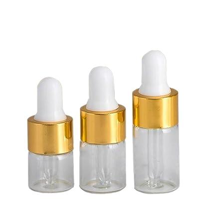 Hustar 25 pcs mini rellenable de vidrio transparente cuentagotas botellas aceite esencial viales botellas de vidrio