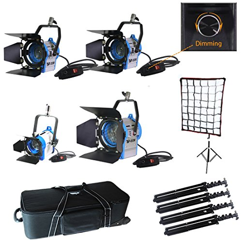 Top-Fotos Total 1400 Watt Dimmer Built- in Fresnel Tungsten Photo Video Studio Continuous Lighting Light Spotlight,SoftBox,Air Cushioned Stands Kit