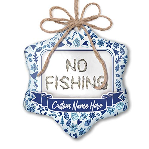 NEONBLOND Custom Tree Ornament No Fishing Fish Fishing with Your Name