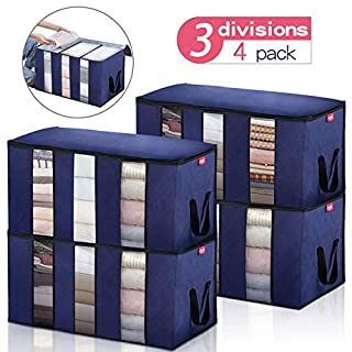 JOYXEON Clothes Storage Bag Clothes Organizers Pack of 4 Large Capacity Comforter Storage Bags with 3 Sections, Reinforced Handle Stainless Steel Zippers for Blankets,Bedding,Clothes