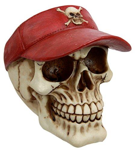 Ebros Beach Red Visor Skull Cap Statue 6