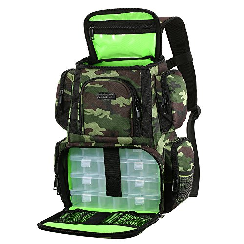 Lixada Fishing Tackle Backpack Multifunctional Fishing Tackle Utility Bag Large Waterproof Tackle Bag Storage with 4 Trays Tackle Box