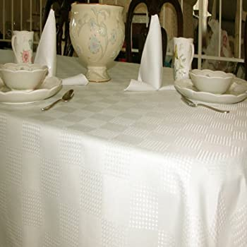 Tablecloths Stian Resistant Linen, Special Dobby Weave Fabric, Ivory Off  White, 100%