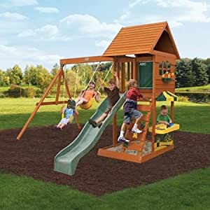 Amazon.com: New Fun Stuff Backyard Cedar Playset Summit Gym Sandy Play Cove Kids Outdoor Wooden ...