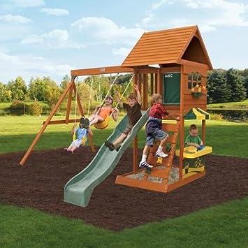Amazoncom New Fun Stuff Backyard Cedar Playset Summit Gym Sandy