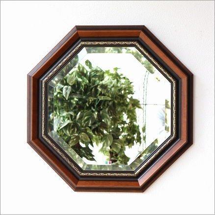 八角形ミラー 壁掛け鏡 木製 玄関 リビング 風水 イタリア製 ウッド八角ミラーB [ebn7290] B01G4UI2PE
