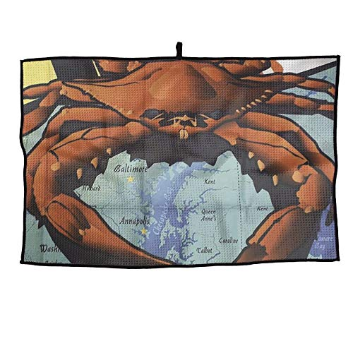 Ancharpin Maryland Crab Unisex Soft Waffle Towel Microfiber Cooling Casual Portable Golf Towel Sports Towel ()