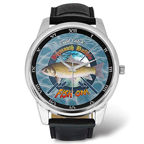 Cool Fishing Mens Watches Design BigMouth Buffalo Fish On Good Catch Pattern, Leather Strap Large Dial Watch