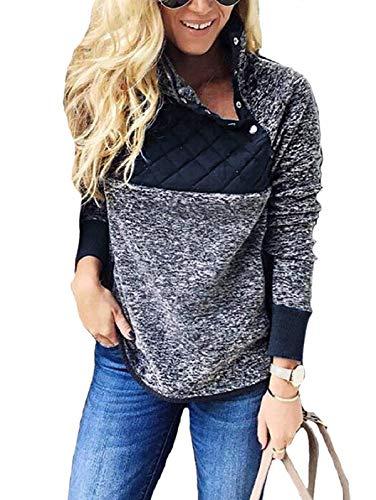SHIBEVER Womens Plus Fleece Sweatshirt Long Sleeve Oblique Button Geometric Pattern Pullover Coats Jackets Outwear Blue XXL