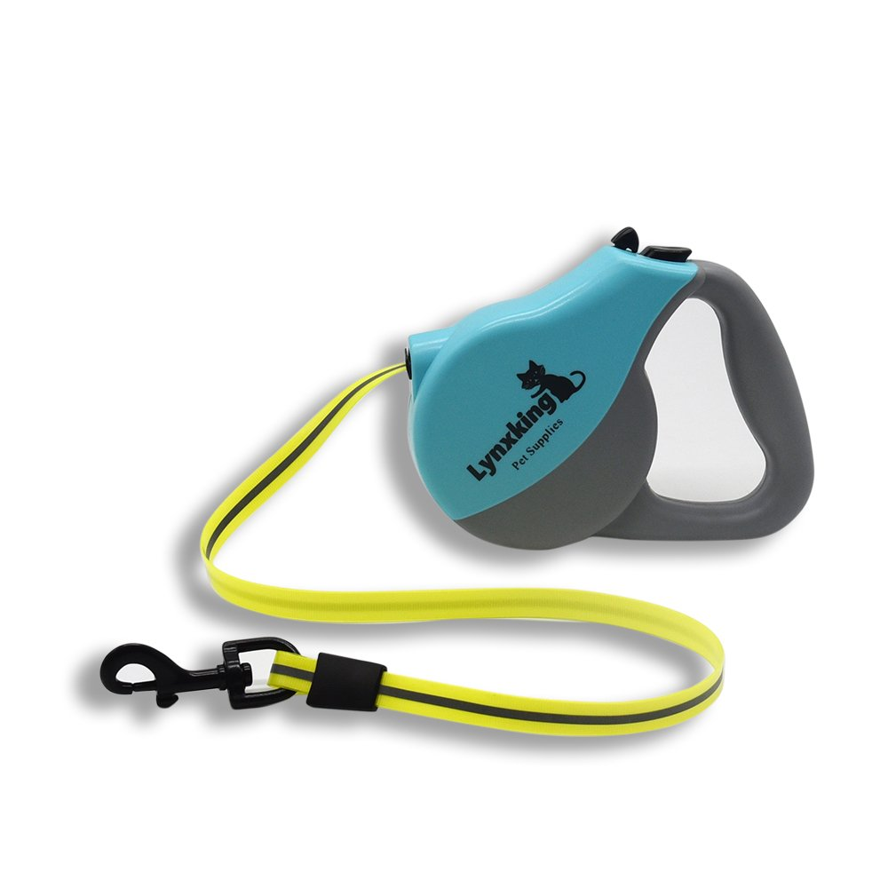 Retractable Pet Dog Leash Heavy Duty Reflective Stripe Water Proof Dog Walking Leash For Small Medium Large Dogs Up To 250 lbs (8FT double color, Blue)