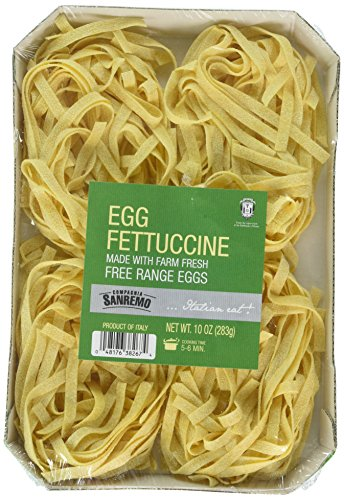 Sanremo Fettucine Egg Pasta, 10 oz (Pack of 4)