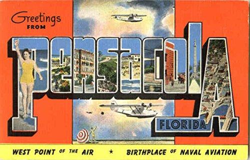 (Greetings From Pensacola Pensacola, Florida Original Vintage Postcard)