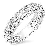 1.30 Carat (ctw) 14K White Gold Round White Diamond Pave Set Wedding Eternity Ring Band (Size 7)