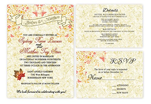 Invitation Fall Wedding Leaves (Fall Autumn Leaf Leaves Wedding Invitations Set of 30)