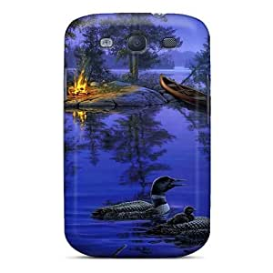 Hot Tpu Cover Case For Galaxy/ S3 Case Cover Skin - Dark Blue Water Paint