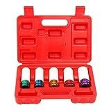 8milelake 5-piece 1/2-Inch Drive Metric Extra Thin Wall Deep Wheel Protector Impact Socket Set, 5 Size, 15, 17, 19, 21, 22 mm