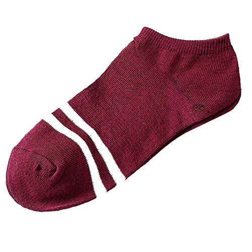 (Unisex Men & Women Socks Comfortable Stripe summer thin Cotton Sock Slippers Short Men's Ankle Socks,Burgundy)