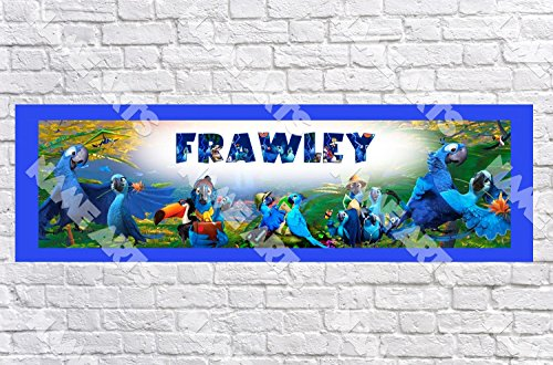Personalized / Customized Rio 2 Movie Name Poster with Border Mat- Home Wall Decor Birthday Party Door Banner