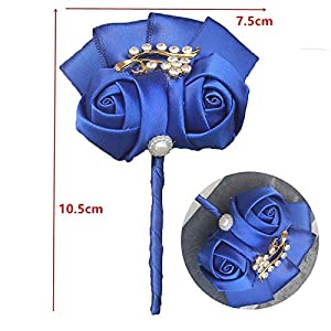 LA Moon's Wedding Bouquets - Factory Selling Wedding Corsage Royal Blue Groom Man Boutonniere Golden Crystal Bride Corsages Wedding Flowers XH1317G 1 PCs 98